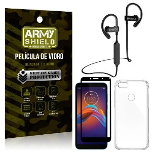 Kit Fone Bluetooth Hrebos HS188 Moto E6 + Película 3D + Capa Anti Impacto - Armyshield