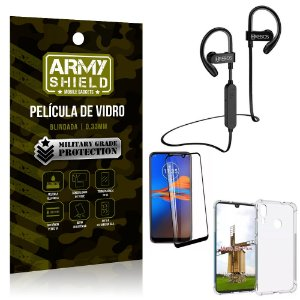 Kit Fone Bluetooth Hrebos HS188 Moto E6 Plus + Película 3D + Capa Anti Impacto - Armyshield