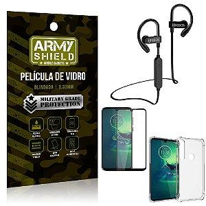 Kit Fone Bluetooth Hrebos HS188 Moto G8 Play + Película 3D + Capa Anti Impacto - Armyshield