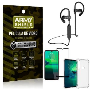 Kit Fone Bluetooth Hrebos HS188 Moto G8 Plus + Película 3D + Capa Anti Impacto - Armyshield
