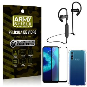 Kit Fone Bluetooth Hrebos HS188 Moto G8 Power Lite + Película 3D + Capa Anti Impacto - Armyshield