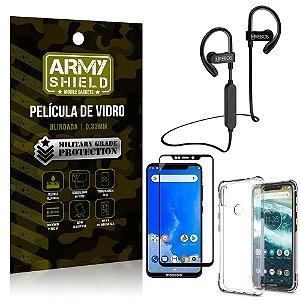 Kit Fone Bluetooth Hrebos HS188 Moto One + Película 3D + Capa Anti Impacto - Armyshield