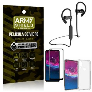 Kit Fone Bluetooth Hrebos HS188 Moto One Action + Película 3D + Capa Anti Impacto - Armyshield