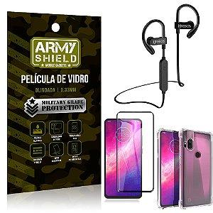 Kit Fone Bluetooth Hrebos HS188 Moto One Hyper + Película 3D + Capa Anti Impacto - Armyshield