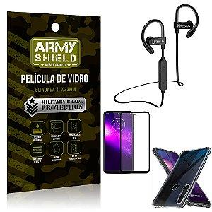 Kit Fone Bluetooth Hrebos HS188 Moto One Macro + Película 3D + Capa Anti Impacto - Armyshield