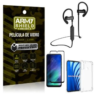 Kit Fone Bluetooth Hrebos HS188 Moto One Fusion + Película 3D + Capa Anti Impacto - Armyshield