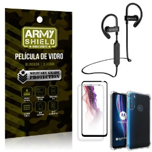 Kit Fone Bluetooth Hrebos HS188 Moto One Fusion Plus + Película 3D + Capa Anti Impacto - Armyshield