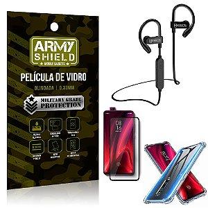Kit Fone Bluetooth Hrebos HS188 Redmi K20 Mi 9T + Película 3D + Capa Anti Impacto - Armyshield