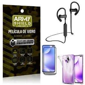 Kit Fone Bluetooth Hrebos HS188 Redmi K30 + Película 3D + Capa Anti Impacto - Armyshield