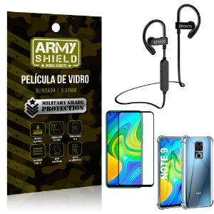 Kit Fone Bluetooth Hrebos HS188 Redmi Note 9 + Película 3D + Capa Anti Impacto - Armyshield