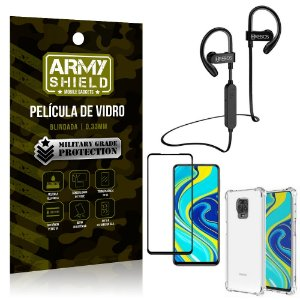 Kit Fone Bluetooth Hrebos HS188 Redmi Note 9 Pro + Película 3D + Capa Anti Impacto - Armyshield