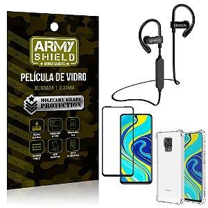 Kit Fone Bluetooth Hrebos HS188 Redmi Note 9 Pro + Película 3D + Capa Anti Impacto - Armyshield