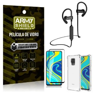 Kit Fone Bluetooth Hrebos HS188 Redmi Note 9S + Película 3D + Capa Anti Impacto - Armyshield