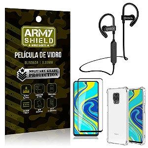 Kit Fone Bluetooth Hrebos HS188 Redmi Note 9S + Película 3D + Capa Anti Impacto - Armyshield