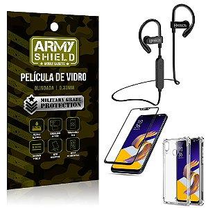 Kit Fone Bluetooth Hrebos HS188 Zenfone 5Z ZS620KL + Película 3D + Capa Anti Impacto - Armyshield