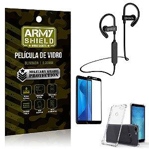 Kit Fone Bluetooth HS188 Zenfone Max Plus M1 ZB570TL + Película 3D + Capa Anti Impacto - Armyshield