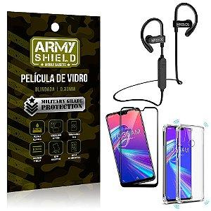 Kit Fone Bluetooth HS188 Zenfone Max Pro M2 ZB631KL + Película 3D + Capa Anti Impacto - Armyshield