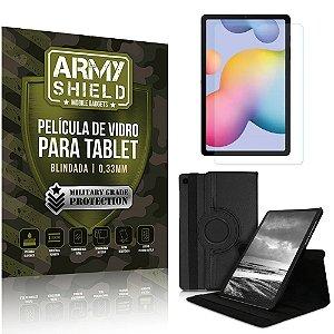 Kit Capa Giratória + Película de Vidro Galaxy Tab S6 Lite 10.4' P610 P615 - Armyshield