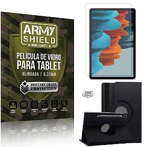 Kit Capa Giratória + Película de Vidro Galaxy Tab S7 Plus 12.4' T970 - Armyshield