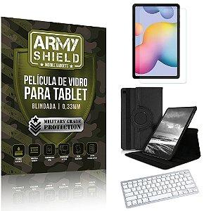 Kit Capa Giratória + Película Vidro +Teclado Bluetooth Galaxy Tab S6 Lite 10.4 P610 P615 -Armyshield