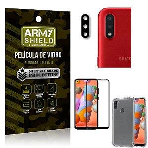 Kit Película de Câmera Galaxy A11 + Película 3D + Capa Anti Impacto - Armyshield
