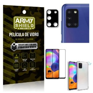 Kit Película de Câmera Galaxy A31 + Película 3D + Capa Anti Impacto - Armyshield