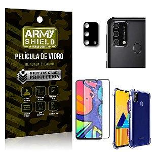 Kit Película de Câmera Galaxy M21s + Película 3D + Capa Anti Impacto - Armyshield