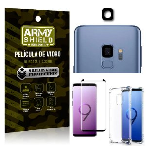 Kit Película de Câmera Galaxy S9 + Película 3D + Capa Anti Impacto - Armyshield