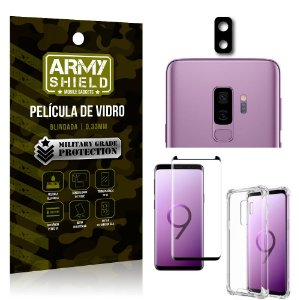 Kit Película de Câmera Galaxy S9 Plus + Película 3D + Capa Anti Impacto - Armyshield