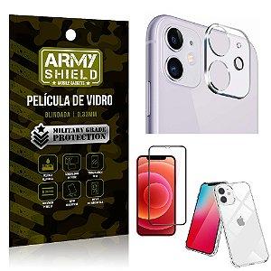 Kit Película de Câmera iPhone 12 6.1 + Película 3D + Capa Anti Impacto - Armyshield