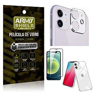 Kit Película de Câmera iPhone 12 Mini 5.4 + Película 3D + Capa Anti Impacto - Armyshield