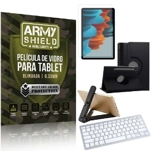 Kit Suporte Dobrável + Tab S7+ Plus 12.4' T970 T975 + Teclado sem fio + Capa + Película Armyshield