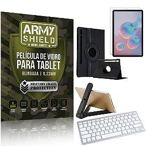 Kit Suporte Dobrável +  Tab S6 10.5' T865 T860 + Teclado sem fio + Capa + Película Armyshield