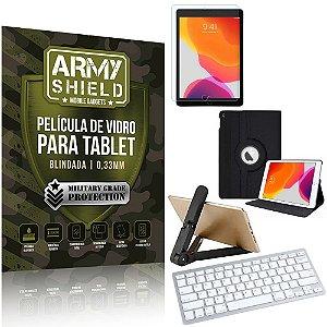 Kit Suporte Dobrável +  iPad 2019 10.2' 7a/8a + Teclado sem fio + Capa + Película Armyshield