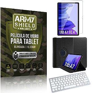 Kit Capa Giratória + Película Vidro +Teclado Bluetooth Tab A7 10.4 T500 T505 -Armyshield