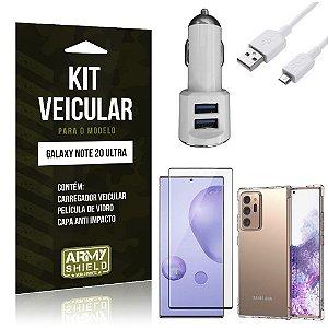 Kit Carregador Veicular Tipo C Note 20 Ultra + Capa Anti Impacto + Película Vidro 3D - Armyshield