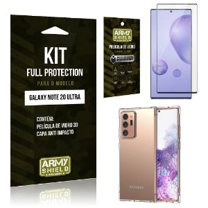 Kit Full Protection Galaxy Note 20 Ultra Película de Vidro 3D + Capa Anti Impacto - Armyshield