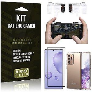 Kit Gatilho Gamer Galaxy Note 20 Ultra Gatilho + Capa Anti Impacto + Película Vidro 3D - Armyshield