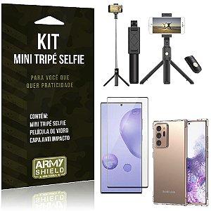 "Kit Bastão Selfie Tripé Bluetooth para Galaxy Note 20 Ultra 6,9"" + Capa + Película 3D"