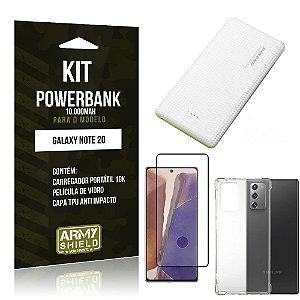 Kit Carregador Portátil 10K Tipo C Galaxy Note 20 +Capa Anti Impacto +Película Vidro 3D -Armyshield