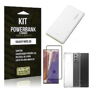 Kit Carregador Portátil 5K Tipo C Galaxy Note 20 + Capa Anti Impacto +Película Vidro 3D -Armyshield