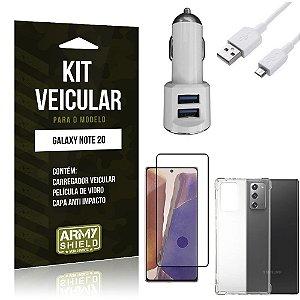 Kit Carregador Veicular Tipo C Galaxy Note 20 + Capa Anti Impacto + Película Vidro 3D - Armyshield