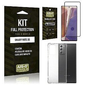 Kit Full Protection Galaxy Note 20 Película de Vidro 3D + Capa Anti Impacto - Armyshield