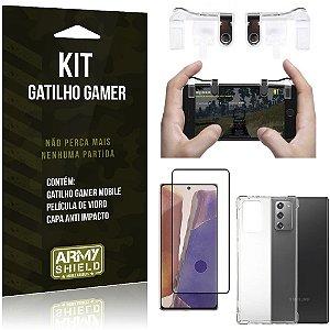Kit Gatilho Gamer Galaxy Note 20 Gatilho + Capa Anti Impacto + Película Vidro 3D - Armyshield