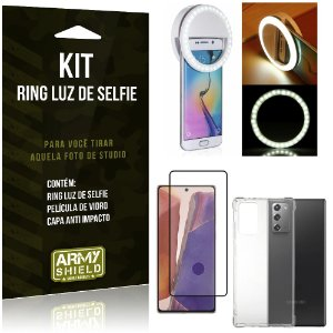 Kit Flash Ring Galaxy Note 20 Flash Ring + Capa Anti Impacto + Película de Vidro 3D - Armyshield