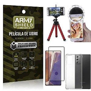 Kit Tripé Flex + Flash Ring Galaxy Note 20 + Capa + Película 3D