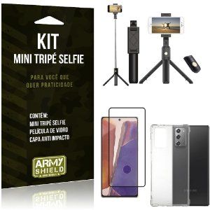 "Kit Bastão Selfie Tripé Bluetooth para Galaxy Note 20 6,7"" + Capa + Película 3D"