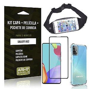 Kit Pochete Galaxy A52 Pochete + Capinha Anti Impacto + Película de Vidro 3D - Armyshield