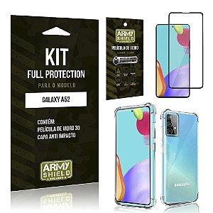 Kit Full Protection Galaxy A52 Película de Vidro 3D + Capa Anti Impacto - Armyshield