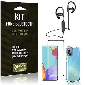 Kit Fone Bluetooth HS188 Galaxy A52 + Capa Anti Impacto + Película Vidro 3D - Armyshield